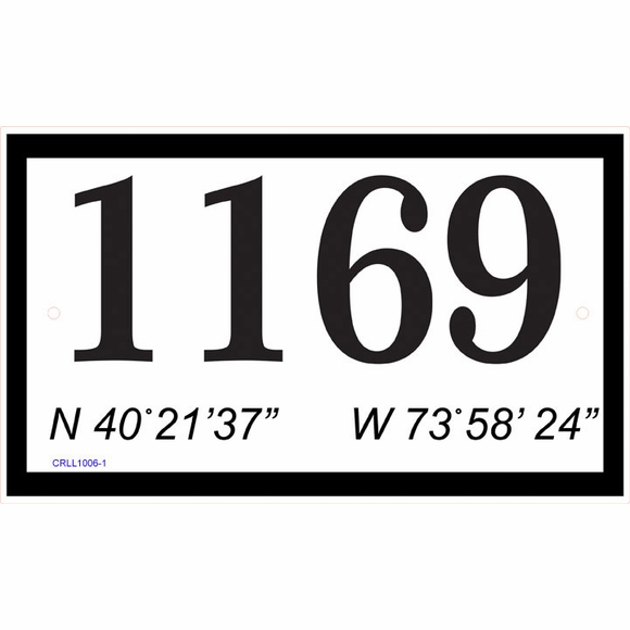 Coordinates Address Sign or Family Name Sign with Longitude and Latitude