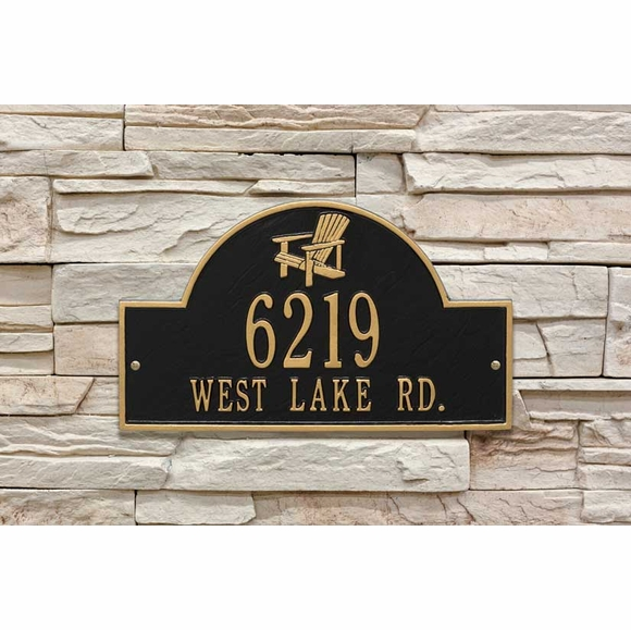 Address Plaque With Adirondack Chair In Top Arch