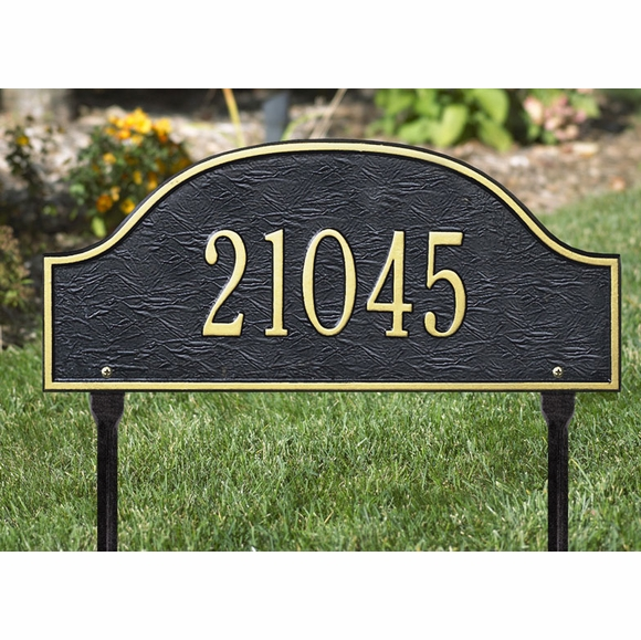Aluminum Arch Address Plaque For Wall or Optional Lawn Stake Mount
