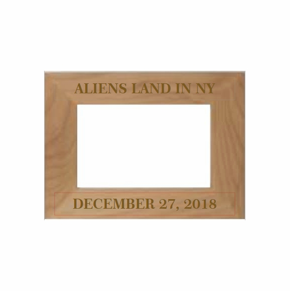 Aliens Land In New York - Custom Engraved Picture Frame For Your Blue Light Sky Photo
