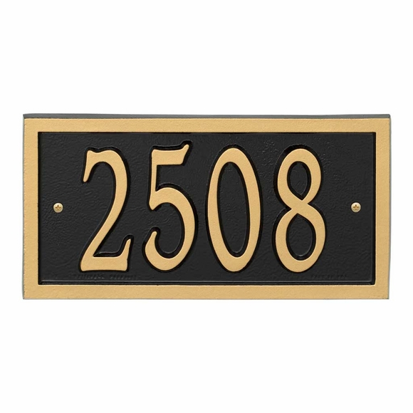 AlumaCast Metal Address Plaque Black with Gold