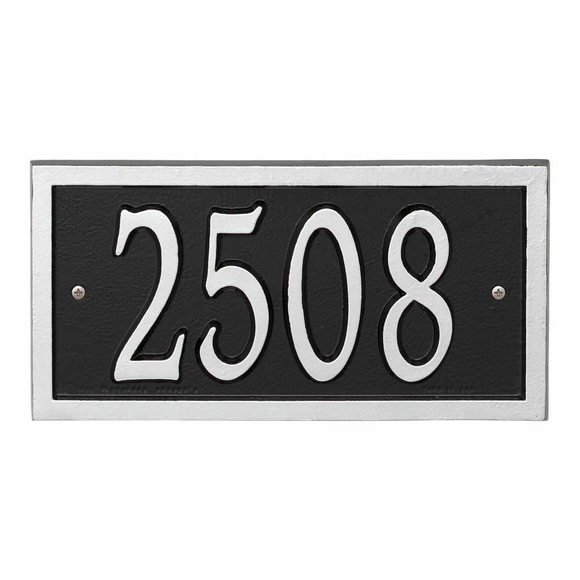 AlumaCast Metal Address Plaque Black with Silver
