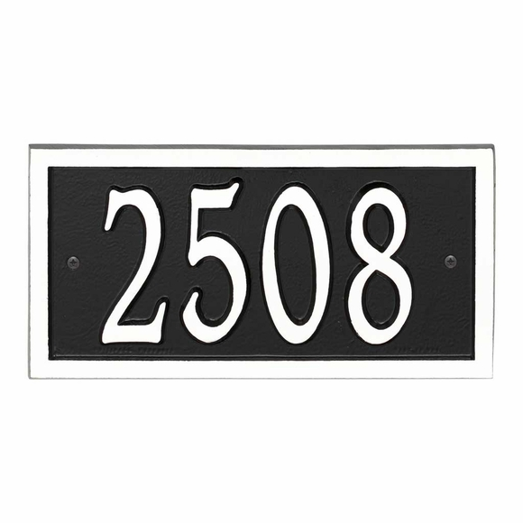 AlumaCast Metal Address Plaque Black with White