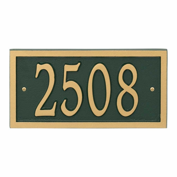 AlumaCast Metal Address Plaque Green with Gold