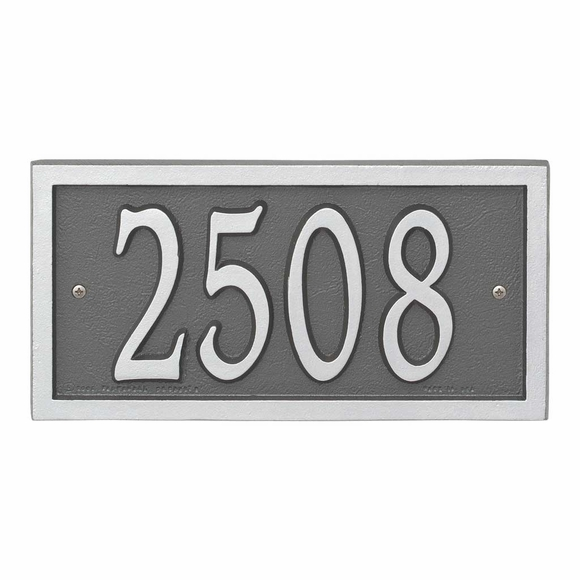 AlumaCast Metal Address Plaque Pewter with Silver