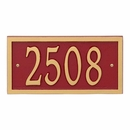 Alumacast Metal Address Plaque Red with Gold