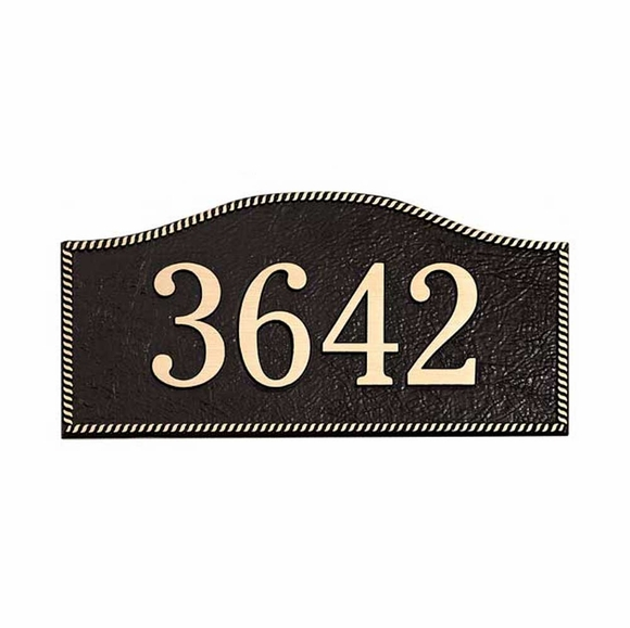 Aluminum House Number Plaque with Rope Border and Textured Surface - For Stud Mount or Lawn Mount