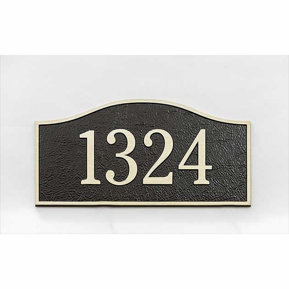 Aluminum House Number Plaque with Leatherette Textured Background - For Wall Stud Mount or Lawn Mount