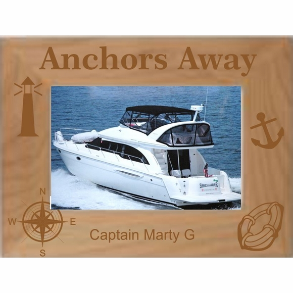 Custom Engraved Anchors Away Personalized Picture Frame for Boat Owners