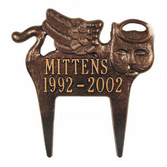 Angel Cat Personalized Memorial Marker Lawn Plaque