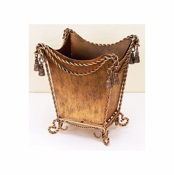 Antique Gold Finish Waste Basket
