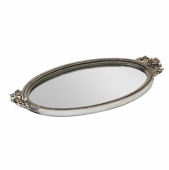 Antique Rose Mirrored Silver Vanity Tray