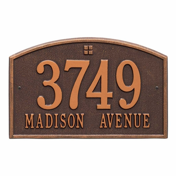 Aluminum Metal Arch Address Plaque With 2 Lines - Choose Your Color