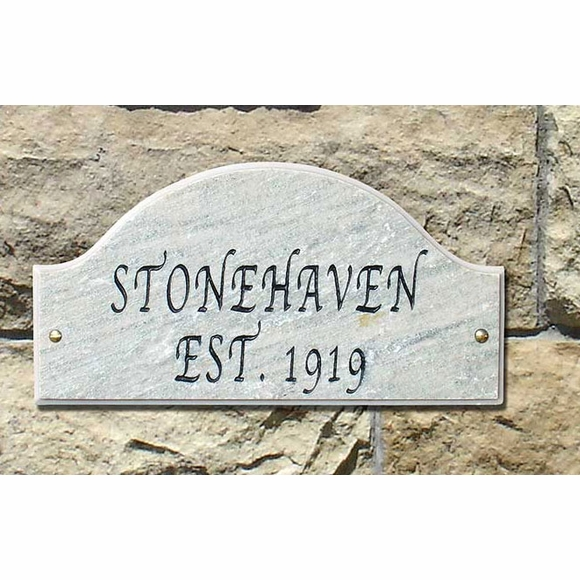 Arch 2 Line Granite Address Plaque, Established Sign, or Custom Message with Fancy Font