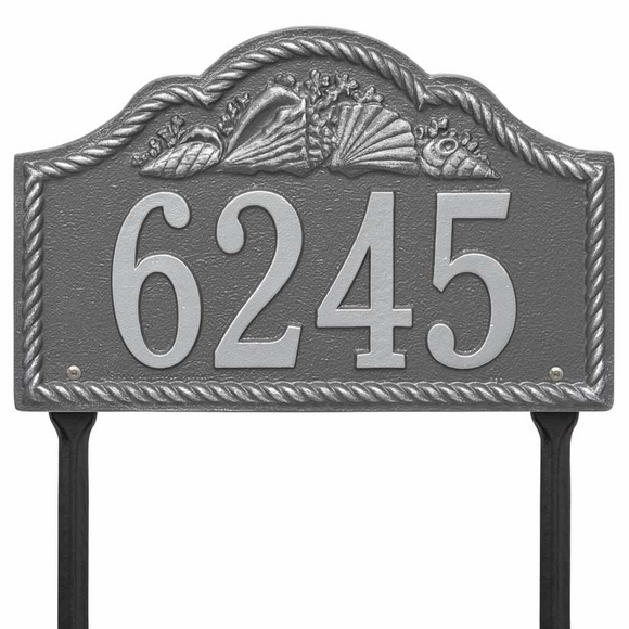 Arch Address Number Lawn Plaque With Seashell and Rope Border