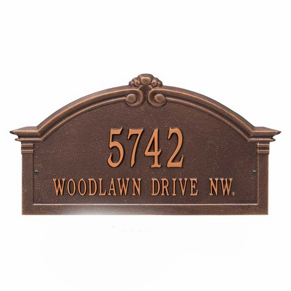 Arch Address Plaque Wall Mount - Bronze with Gold, Black with Gold, Antique Copper, or Pewter with Silver