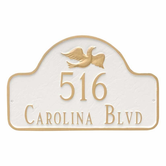 Arch Address Plaque with Dove - Peace Theme House Number and Street Name Sign