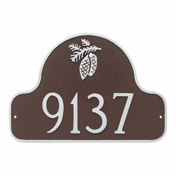 Arch Address Plaque with Pine Cones