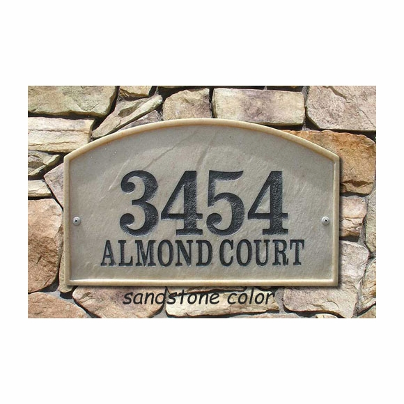 Arch Address Sign Made From Stone and Resin