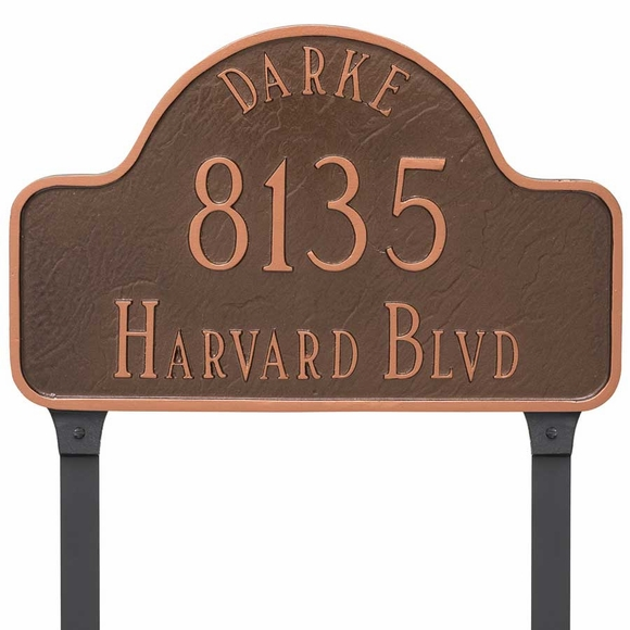 Arch Lawn Address Sign with Name, House Number, and Street - Choose Your Size and Color