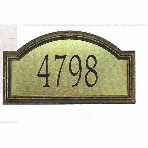 Arch Shape Address Number Sign, Brass and Bronze or Silver and Pewter