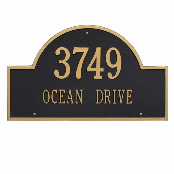 Arch Shape Address Plaque - Aluminum Metal House Number Sign