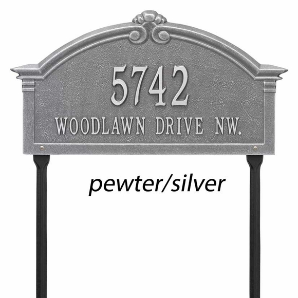 Decorative Arch Shape Address Sign Lawn Mount Made From Aluminum Metal