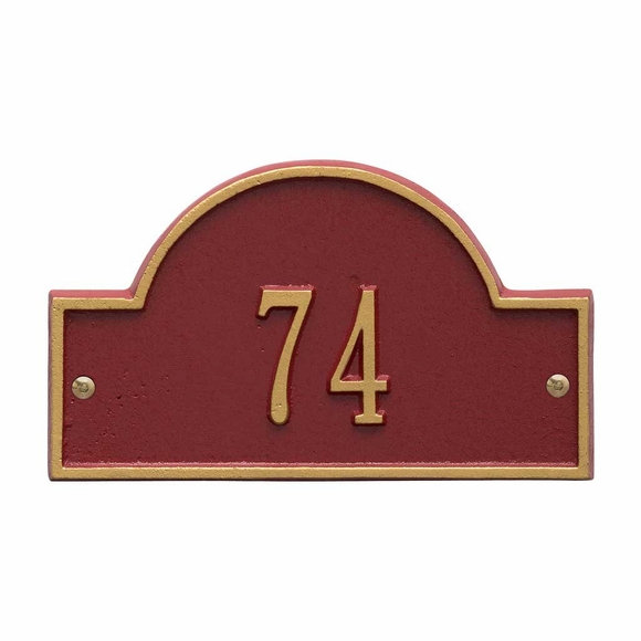 Small Metal Address Plaque - Arch Shape Unit Number Marker for Condo Doors & Office Doors