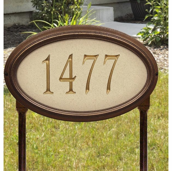 Oval House Number Sign In Granite, Sandstone, or Limestone Finish For Wall Mount or Optional Lawn Mount