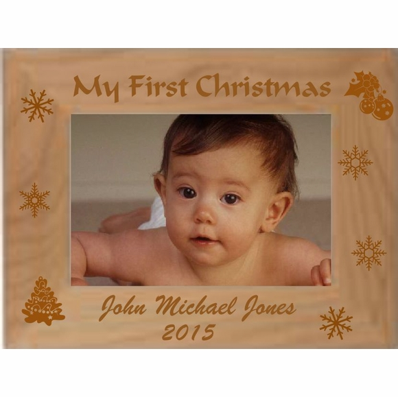 Custom Engraved Personalized Baby's First Christmas Picture Frame