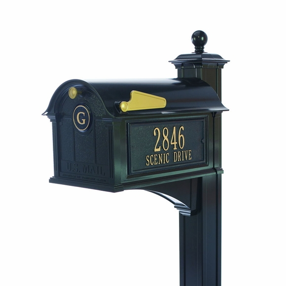 Aluminum Metal Mailbox with Decorative Ball Top Post, Monogram On Front, And Address On Both Sides