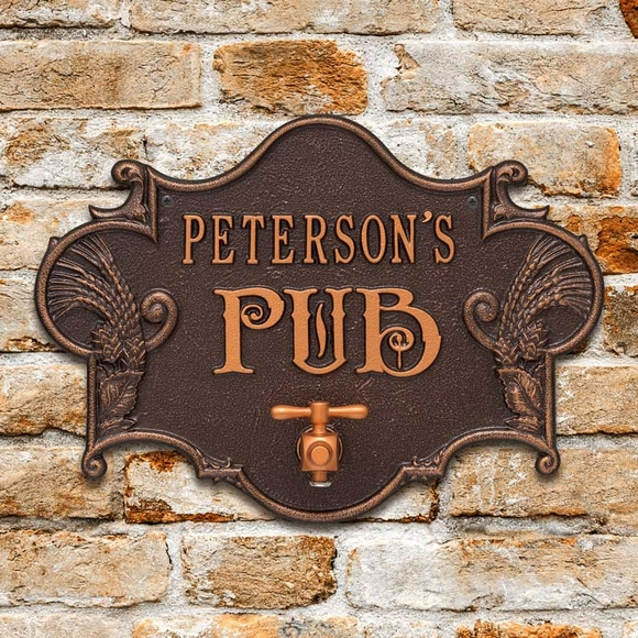 Custom Pub Plaque With Your Name, Decorative Beer Tap, And Bottle Opener