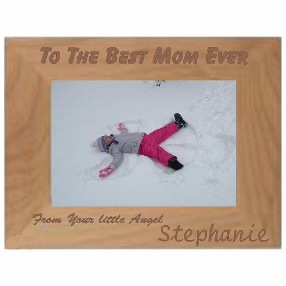 Best Mom Personalized Picture Frame for Mother's Day - Engraved Wood Photo Frame