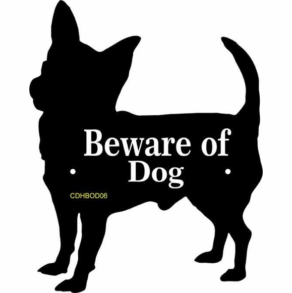 Beware of Dog Sign in the Shape of a Dog