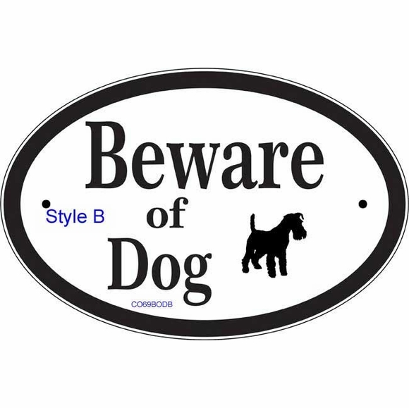 Beware of Dog Sign with Dog Image Silhouette