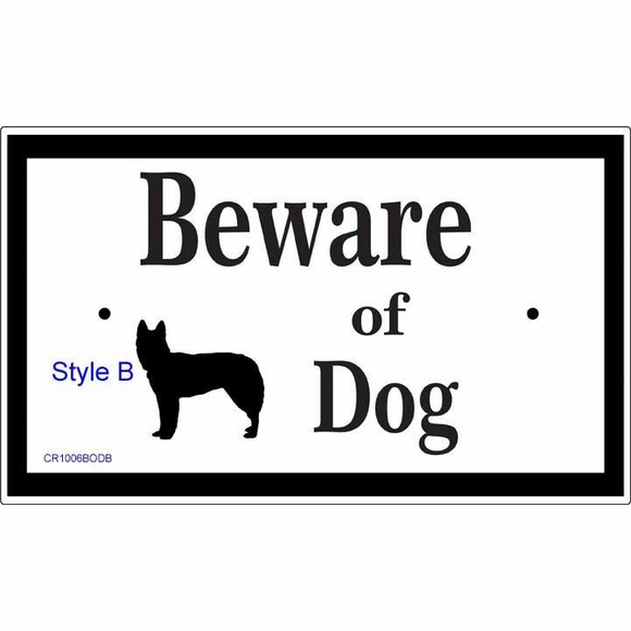 Beware of Dog Warning Sign with Dog Silhouette