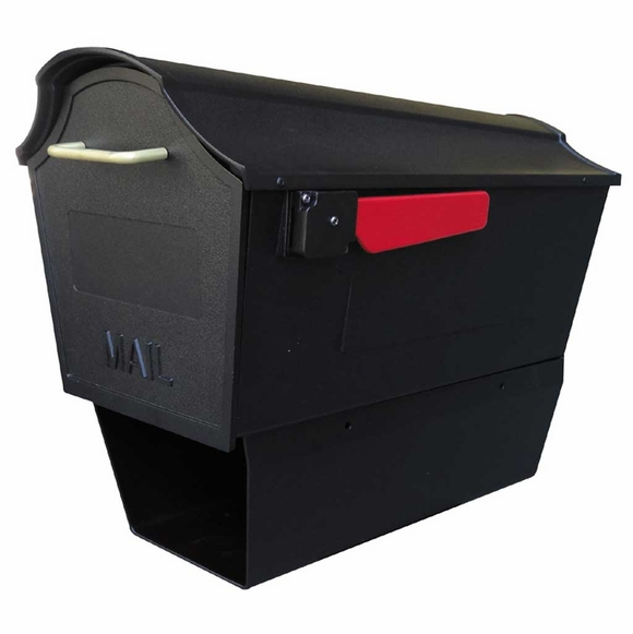 Black Curbside Mailbox with Newspaper Tube