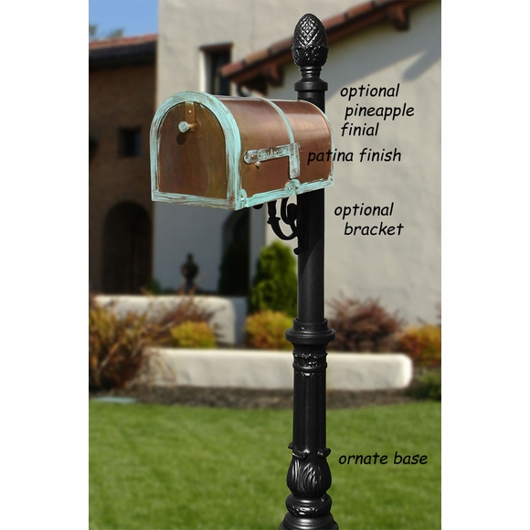 Brass Rural Mailbox and Post With Optional Horsehead, Pineapple or Ball Finial