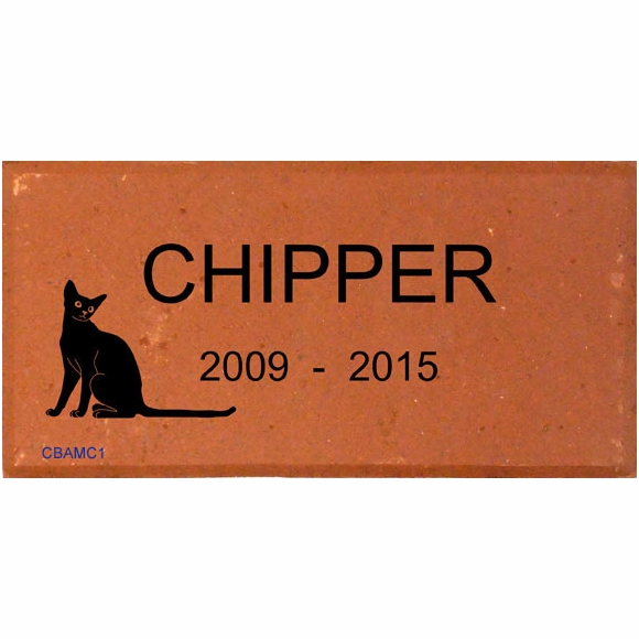 Engraved Brick Pet Memorial with Cat's Name