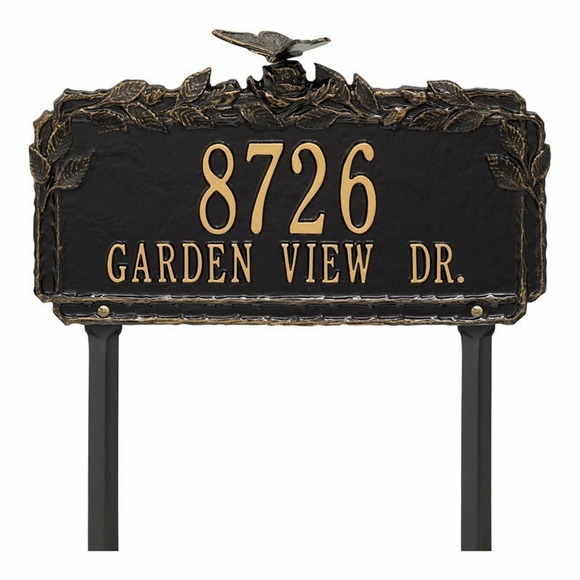 Address Plaque With Butterfly On Top