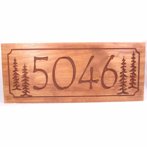 Carved Wood Address Plaque with Big House Numbers