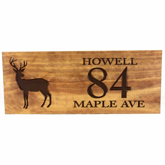 Carved Wood Address Plaque with Deer Silhouette Displays Name, House Number, And Street