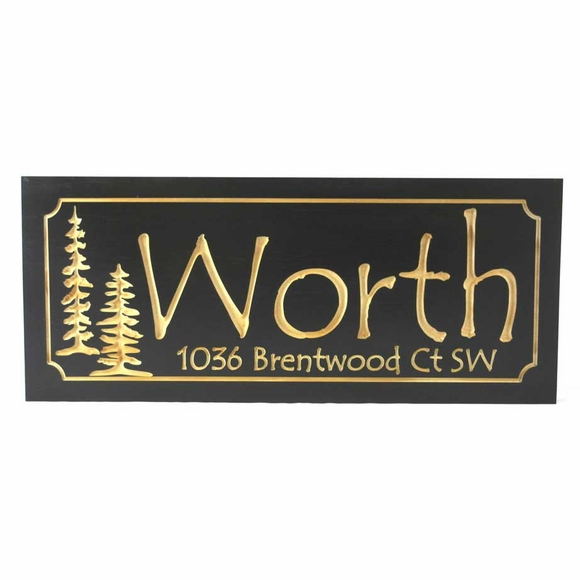 Carved Wood Address Sign with Pine Trees