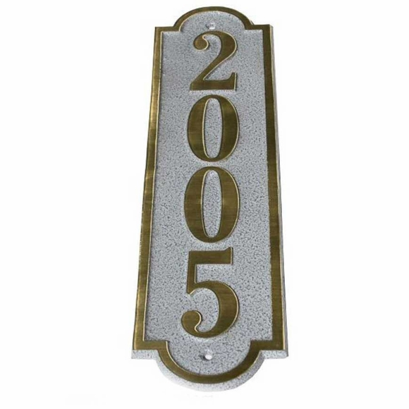 Cast Brass Vertical House Number Plaque