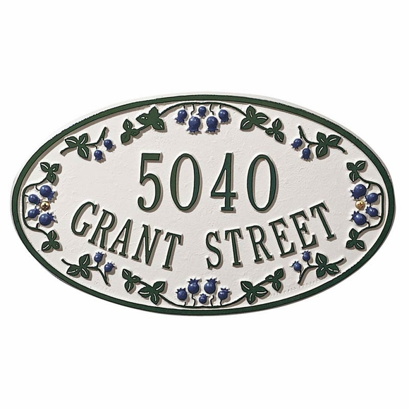 Oval Address Plaque with Blueberry, Raspberry, or Strawberry Border