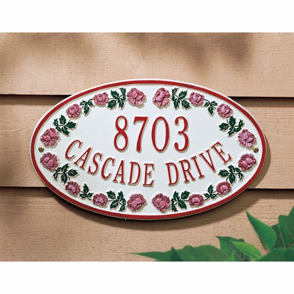 Personalized Rose Address Plaque - Oval House Number Sign With Red Rose Border