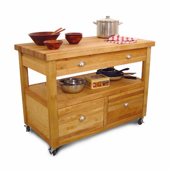 Large Kitchen Island Work Center With Butcher Block Top
