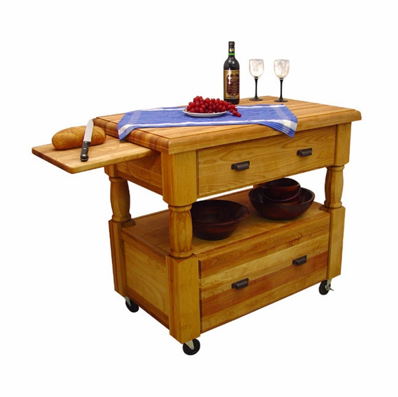Kitchen Island On Wheels With Shelf And Two Large Drawers