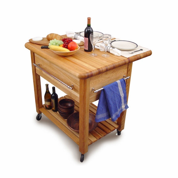 Portable Kitchen Island Work Center with Drop Leaf