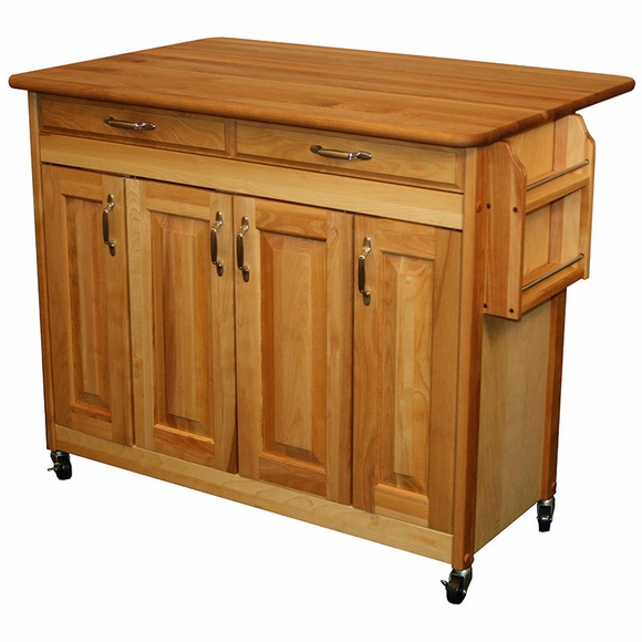 Butcher Block Island with Drop Leaf - Breakfast Bar